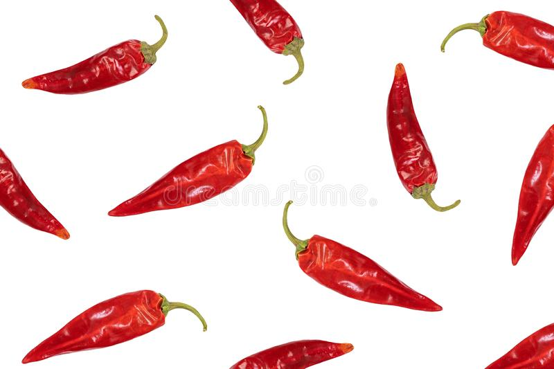 Pattern dried red chili or chilli cayenne pepper isolated on white background. stock photos