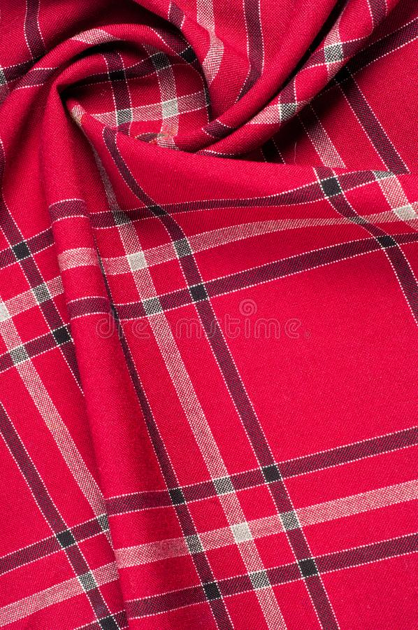 texture, pattern. Scottish tartan pattern. Red and black wool p stock photo