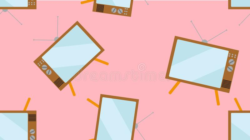 Texture pattern seamless hipster vintage tube convex screen ancient TV watching TV programs 60s 70s 80s 90s 2000s background vector illustration