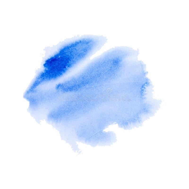 Texture peinte à la main bleue d'aquarelle sur le fond blanc, encre de vecteur, décoration acrylique Tache à la mode d'aquarelle  illustration de vecteur