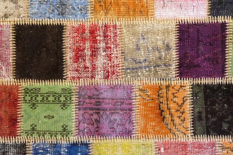 Texture of a piece of old carpet. To sew thick threads stock images