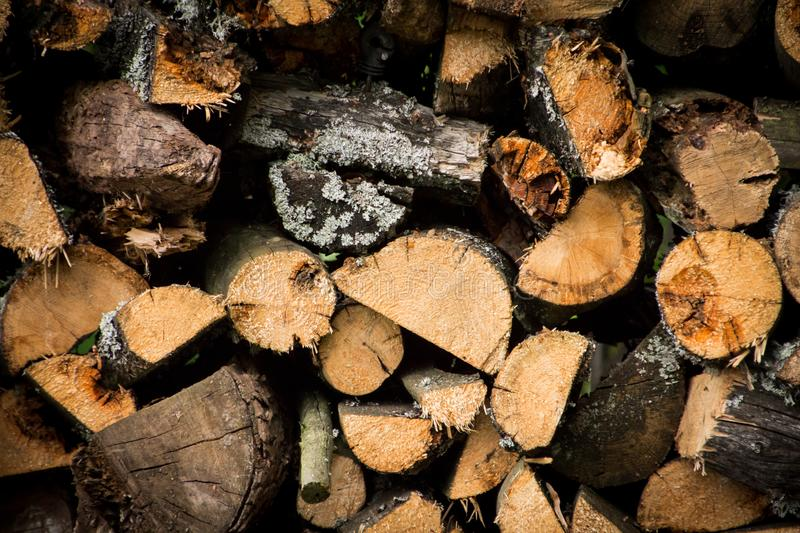 Pile of cutted firewood close up stock photos