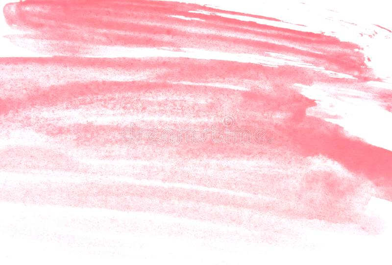 Texture of pink watercolor paint on white paper. Horizontal watercolour background. stock image