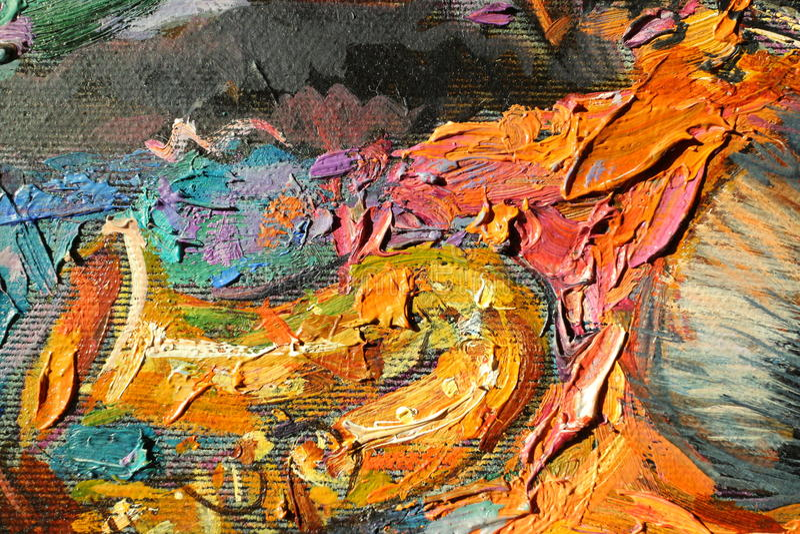Texture a pintura a óleo, autor Roman Nogin de pintura, uma série de jazz do ` ` foto de stock