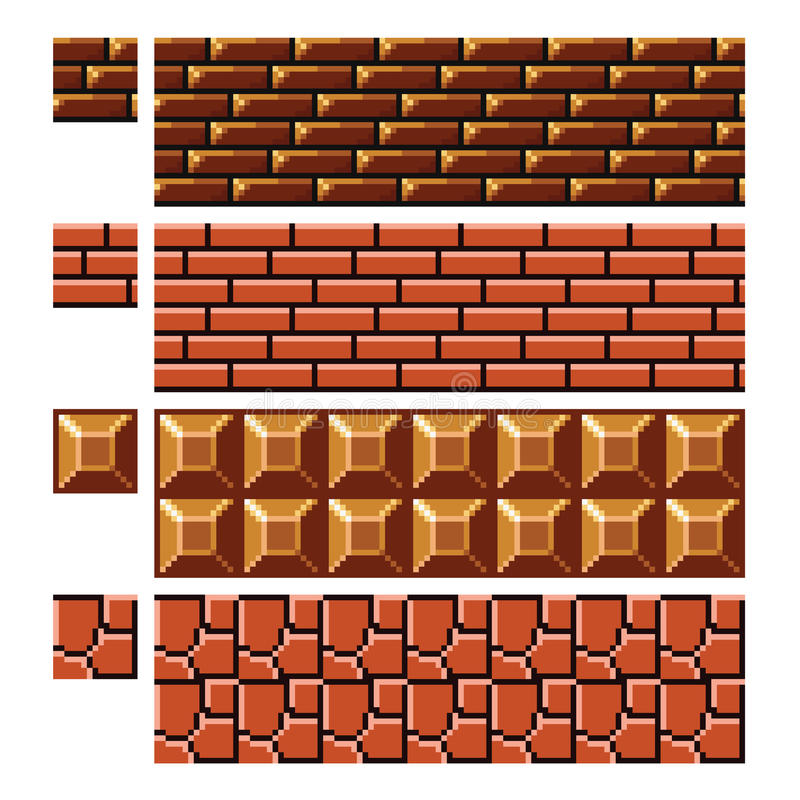 Texture for platformers pixel art vector - brick stone wall stock illustration