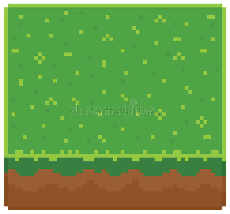 Texture for platformers pixel art vector - ground. Mud block with grass on top pattern game design royalty free illustration