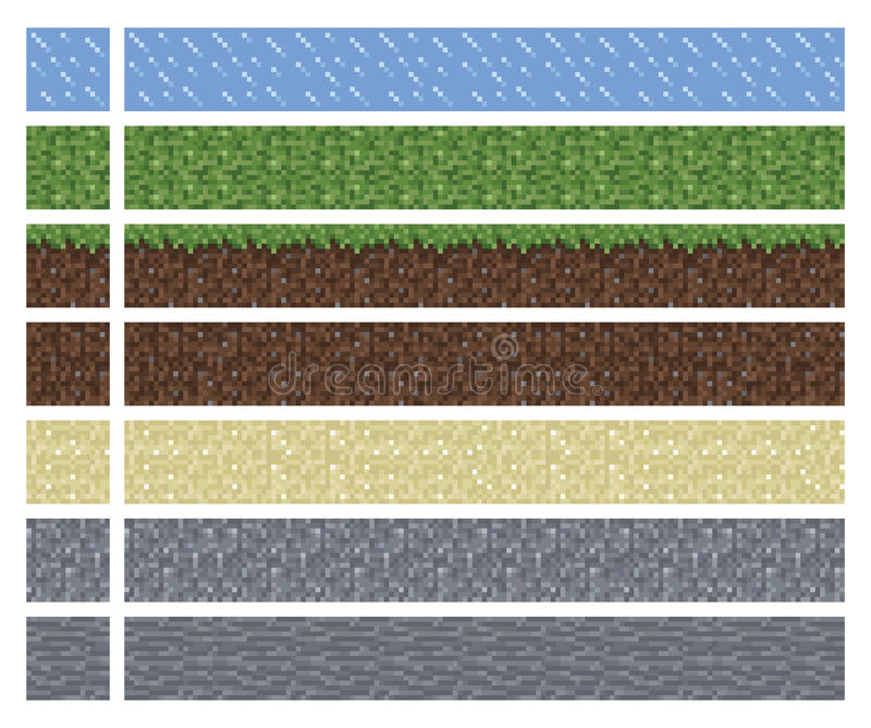 Texture for platformers pixel art vector - mud grass stone ground tile. Square block royalty free illustration