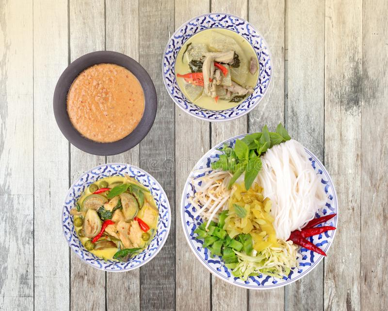 of texture and Popular Thai food, Rice noodle with side stock image