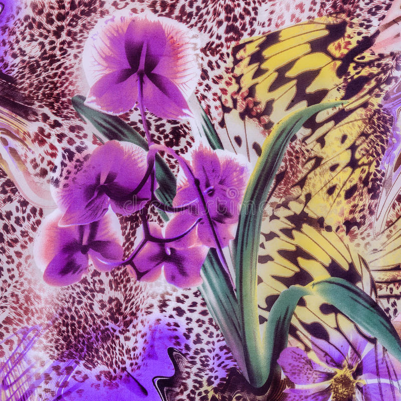 Texture of print fabric striped leopard and flower. For background stock photography