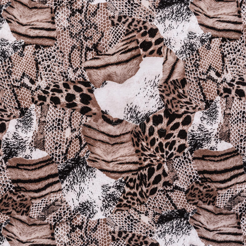 Texture of print fabric striped leopard and snake. For background royalty free stock images