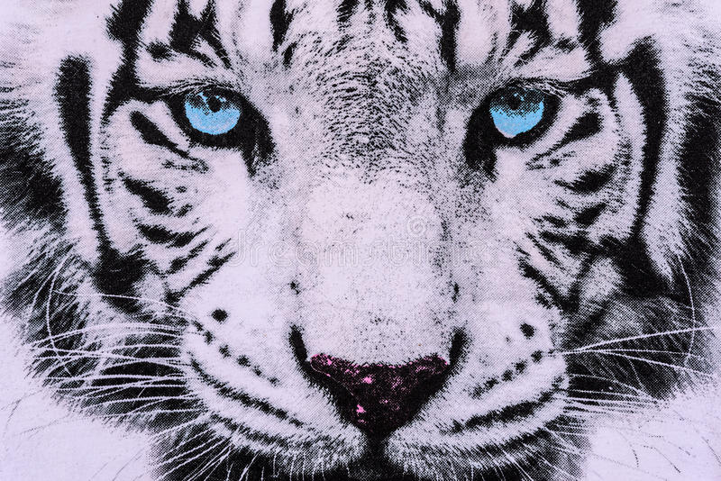 Texture of print fabric striped the white tiger face. For background stock images