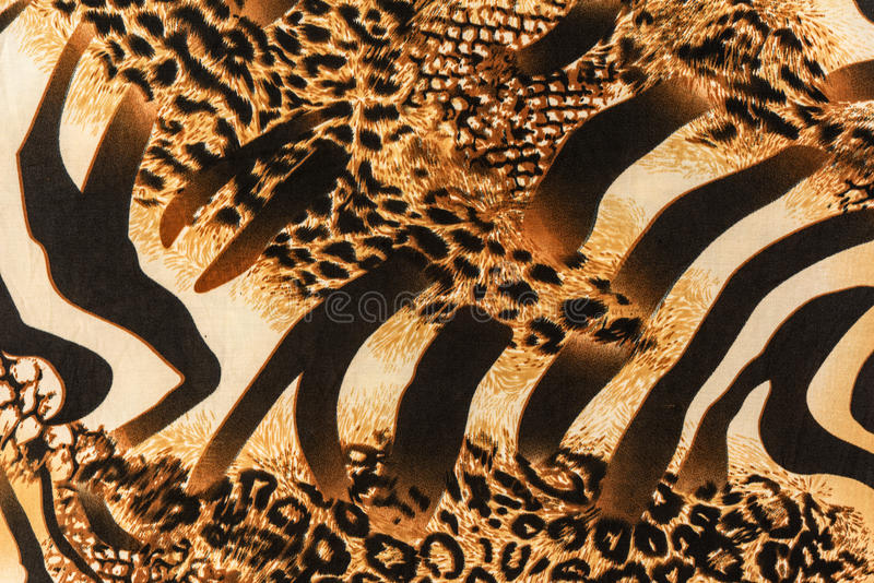 Texture of print fabric striped zebra and leopard. For background royalty free stock photos
