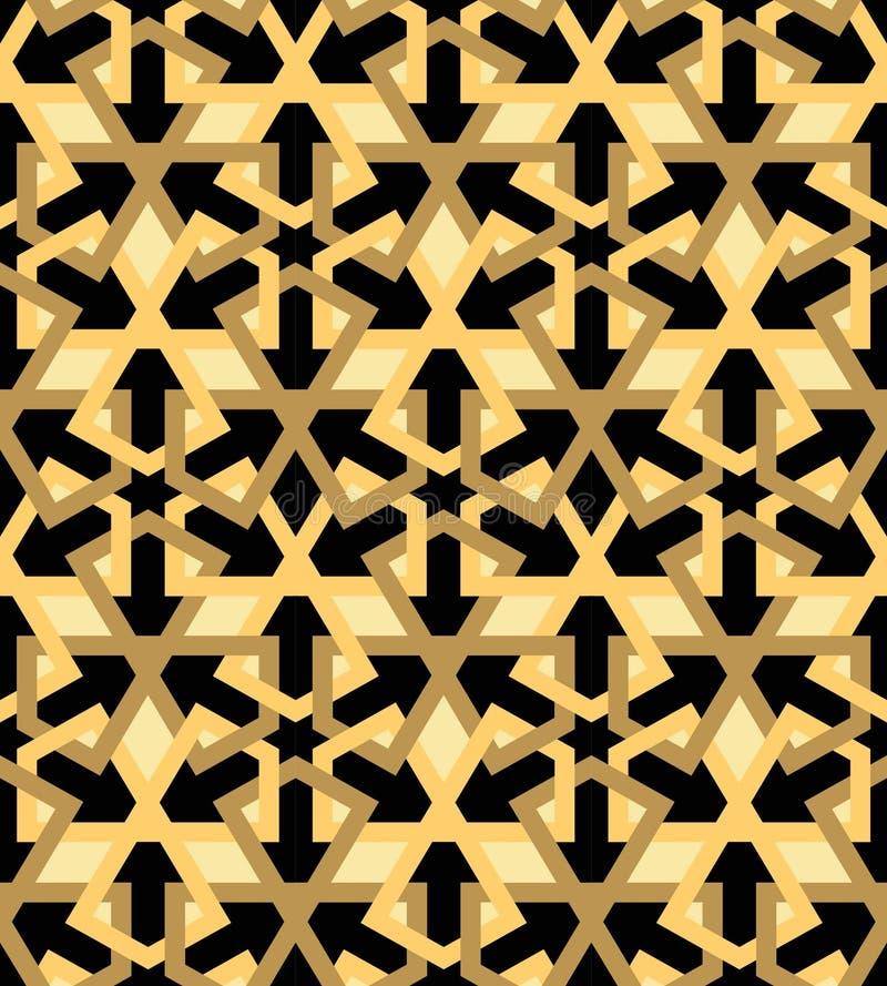 Arabic mosaica black beige stock illustration