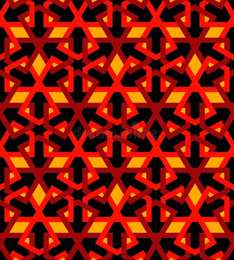 Arabic mosaica black red tile vector illustration