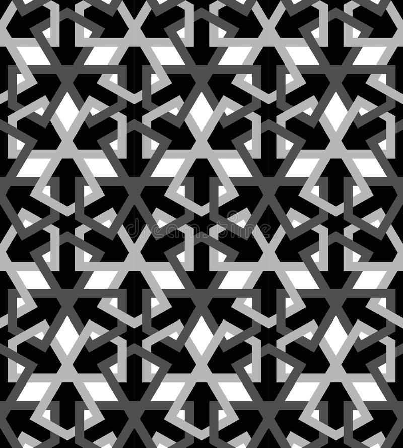 Arabic mosaica white black tile stock illustration