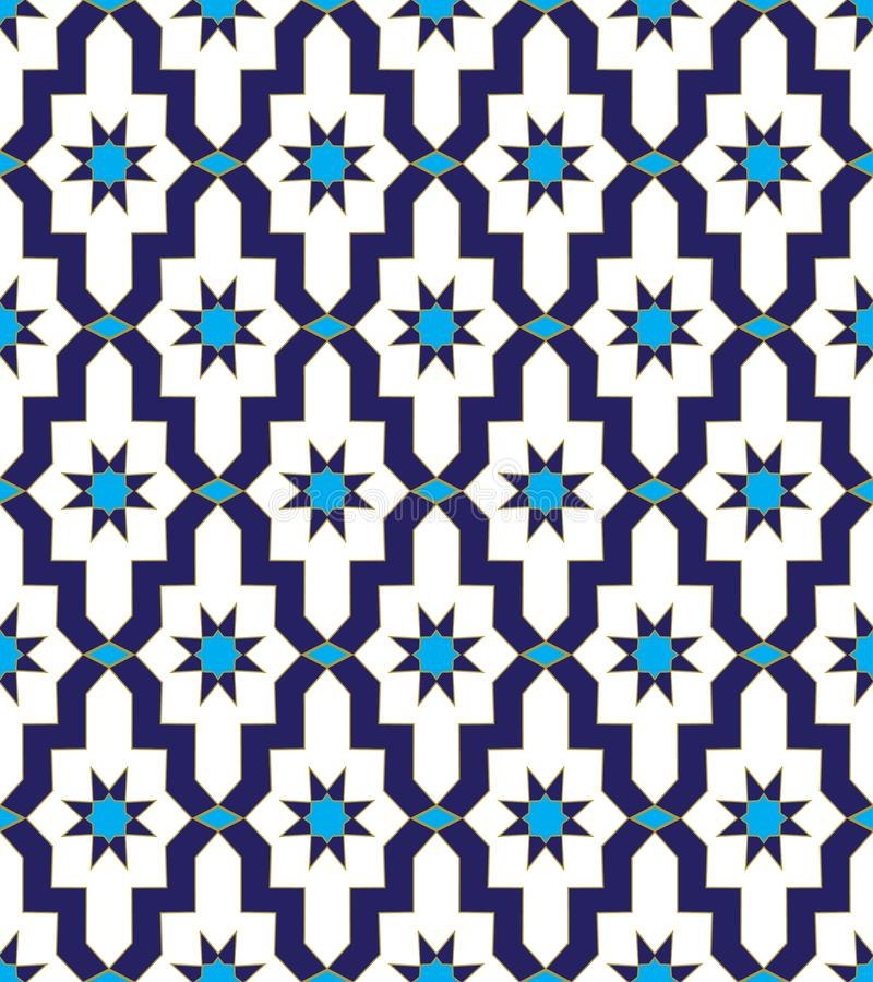 Arabic mosaic blue vector mosaic royalty free illustration