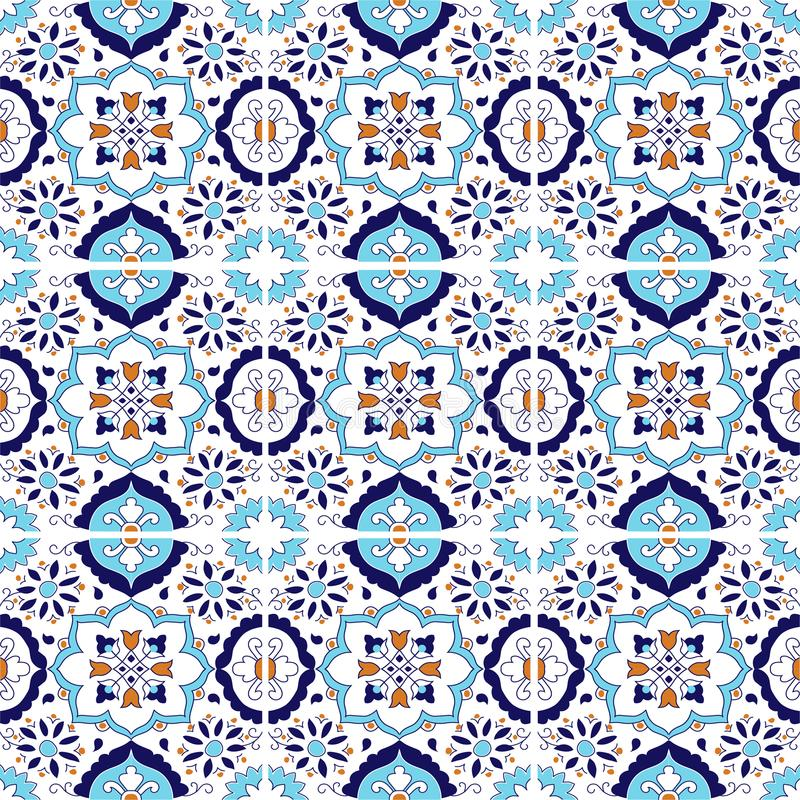 Mural blue floral ornament pattern stock illustration