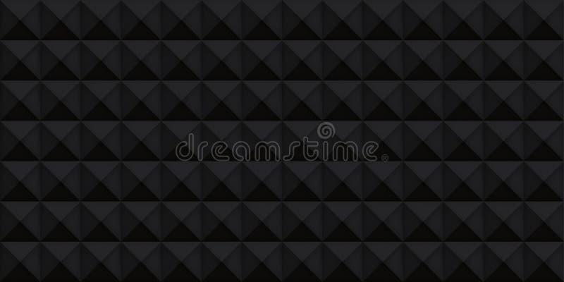 Texture réaliste noire de volume, cubes, 3d modèle géométrique gris, fond d'obscurité de vecteur de conception illustration stock