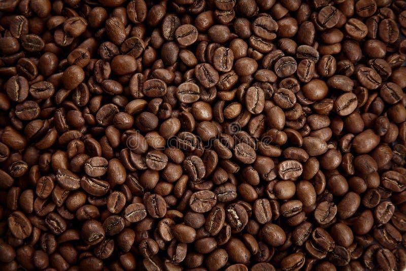 Texture rôtie de grains de café Fermez-vous vers le haut de la vue, vue supérieure images stock