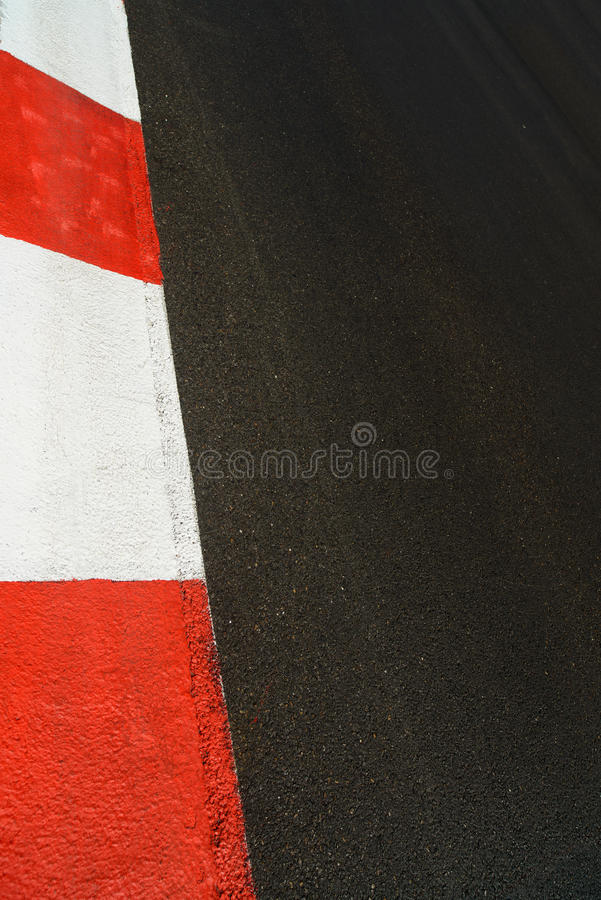 Texture of race asphalt and curb Grand Prix circuit stock image