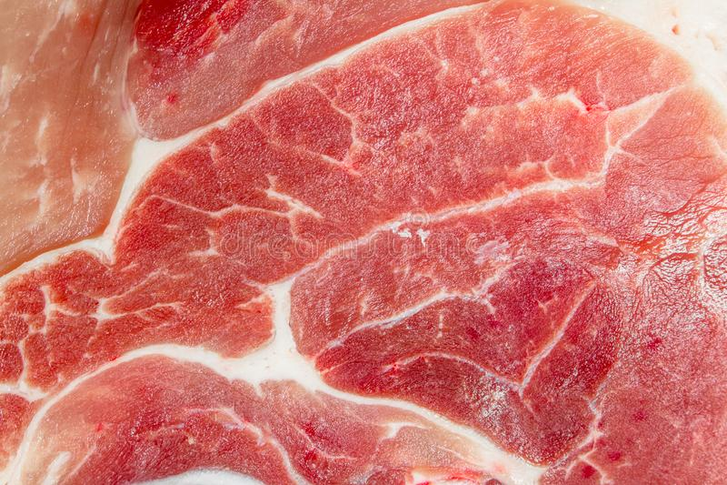 Texture of raw pork meat. Top view royalty free stock photo