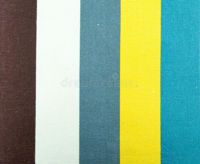 Texture rayée jaune et bleue de tissu photos libres de droits