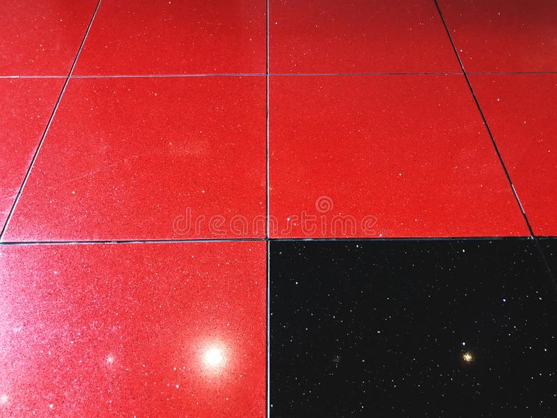 Beautiful Texture Of Red And Black Shiny Tiles On The Floor. Stock Image  WF06