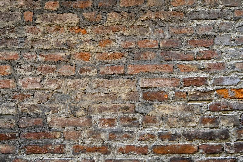 Ancient red brick wall. Background, wallpaper. Old Bricks pattern, texture. royalty free stock photography