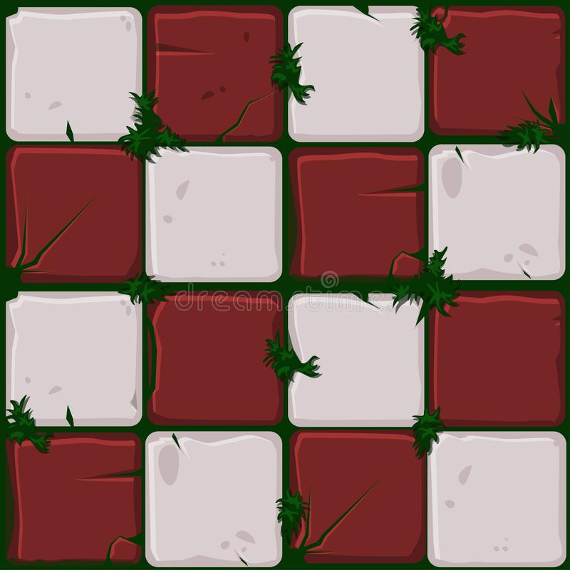 Texture of red stone tiles, seamless background stone wall and grass. Vector illustration for user interface of the game. Texture of red stone tiles, seamless royalty free illustration