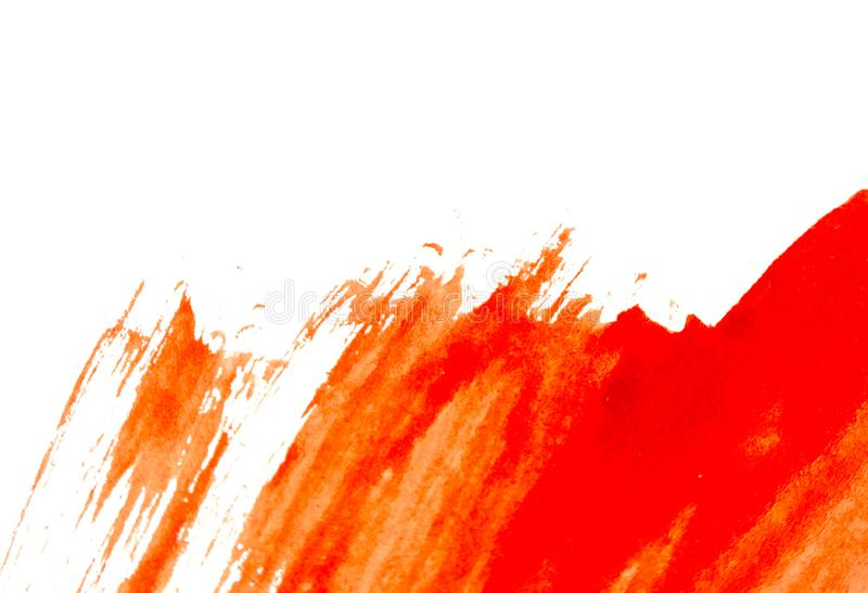 Texture of red watercolour paint on white paper. Watercolor background. stock photos