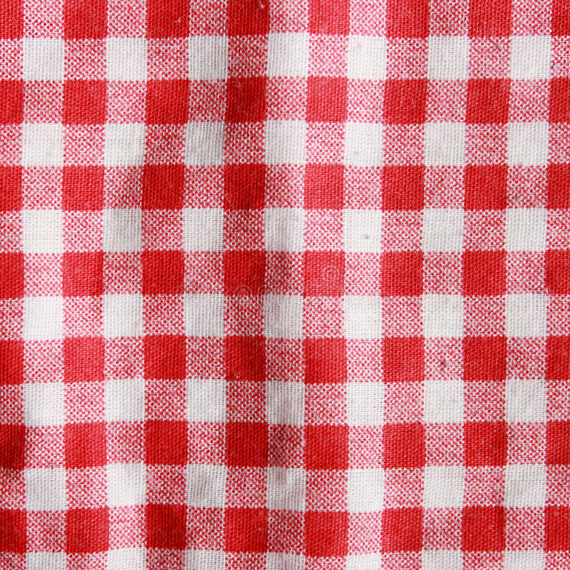 Red And White Checkered Rug: Texture Of A Red And White Checkered Picnic Blanket. Stock