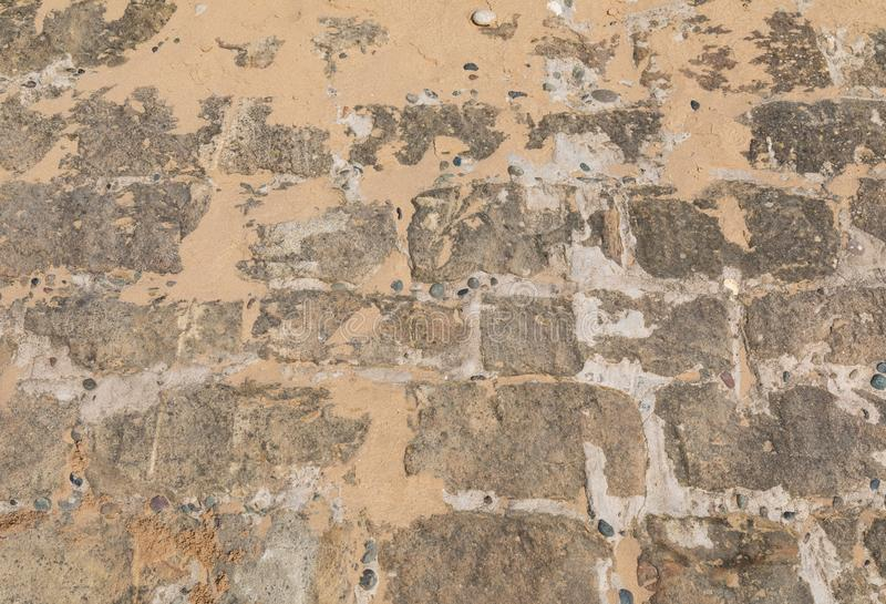 Texture of rock and sand at St Annes on Sea Fylde Coast February 2019. Texture of paved rock and sand at St Annes on Sea Fylde Coast February 2019 royalty free stock images