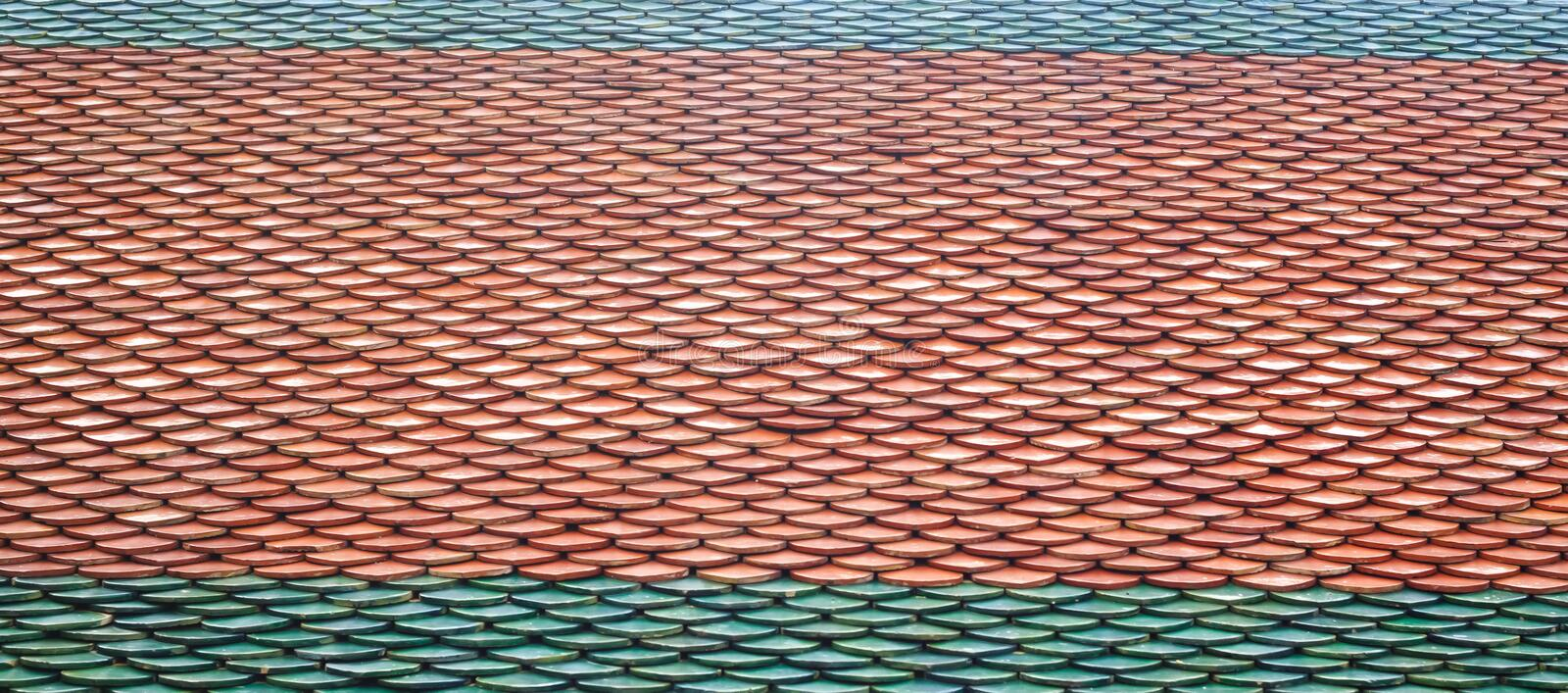 Texture of roof tiles of Thai temple. stock photo