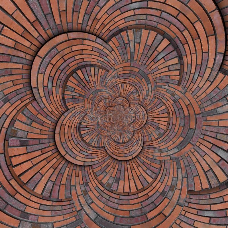 Texture rouge brune abstraite de fond de modèle de mur de briques de spirale de forme de fleur Fractale en spirale ronde de modèl photos stock