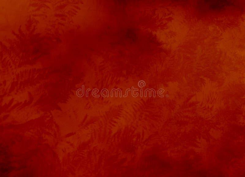 Texture rouge de fond avec des fougères image libre de droits