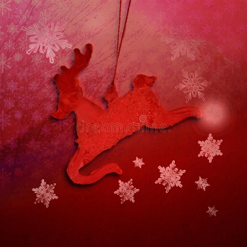 Texture rouge de Noël avec le renne et les flocons de neige image stock