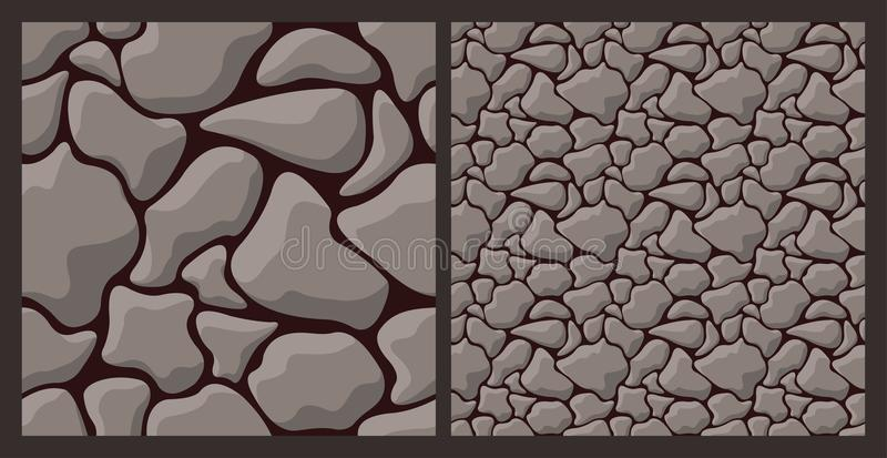 Texture with rough stone. Vector seamless pattern with rough stone wall on brown background stock illustration