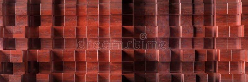 Texture rouillée de fond en métal industriel, modèle d'éléments de forme de cube illustration 3D illustration stock