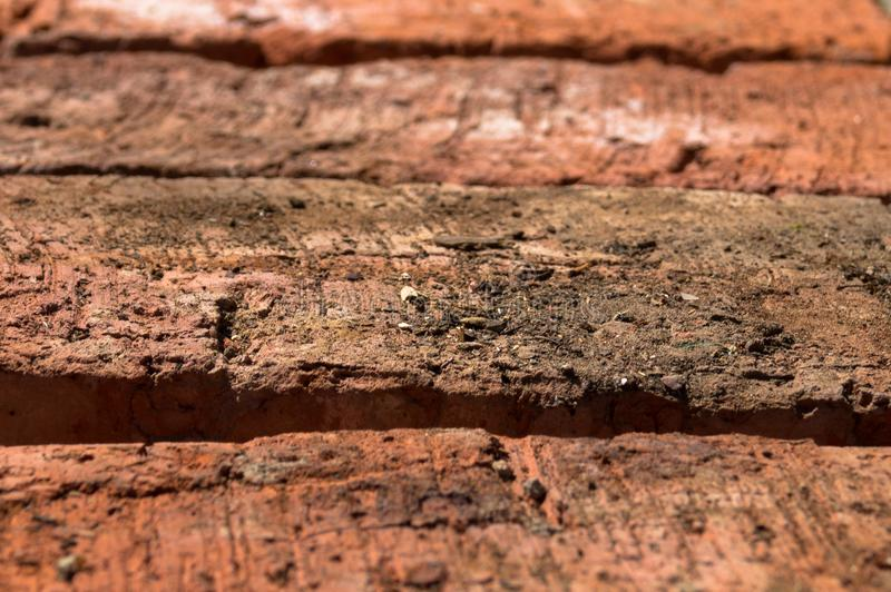 Texture of row of the red bricks stock photo