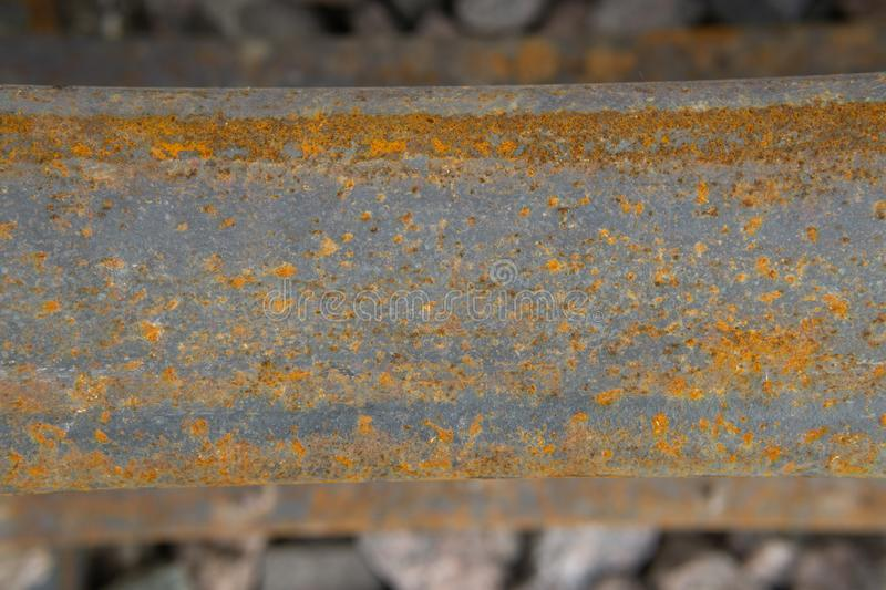 Texture of rusty metal on old rail stock image