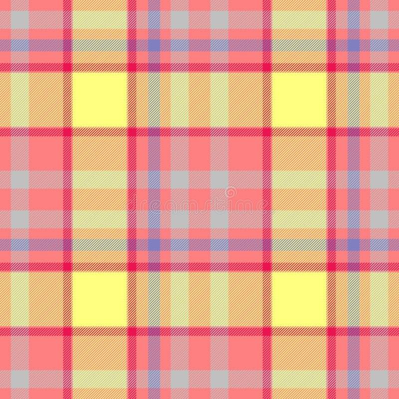 Texture sans couture à carreaux bleue de modèle de plaid de tartan de diamant de jaune de rose en pastel illustration libre de droits