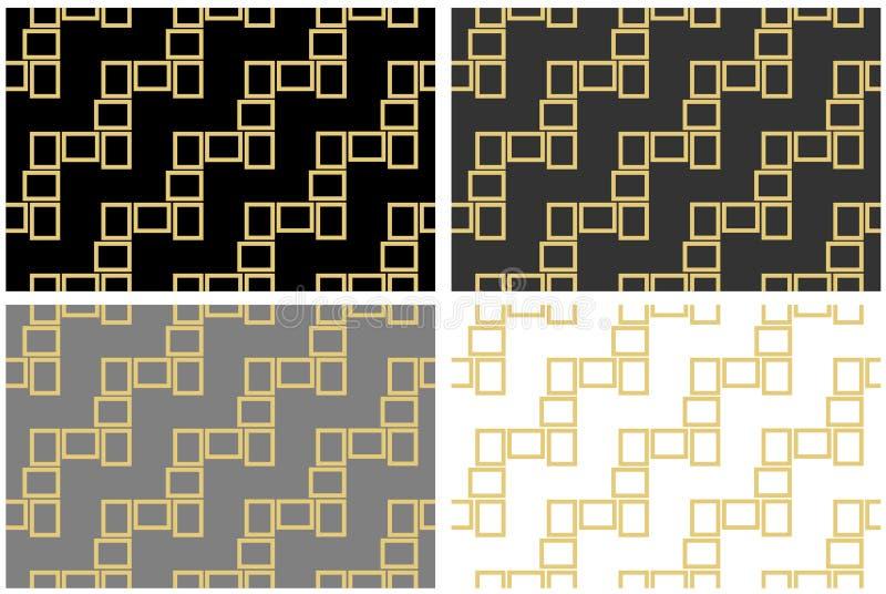 Texture sans couture abstraite de modèle des cadres rectangulaires d'or au-dessus de l'illustration blanche et grise noire de vec illustration de vecteur