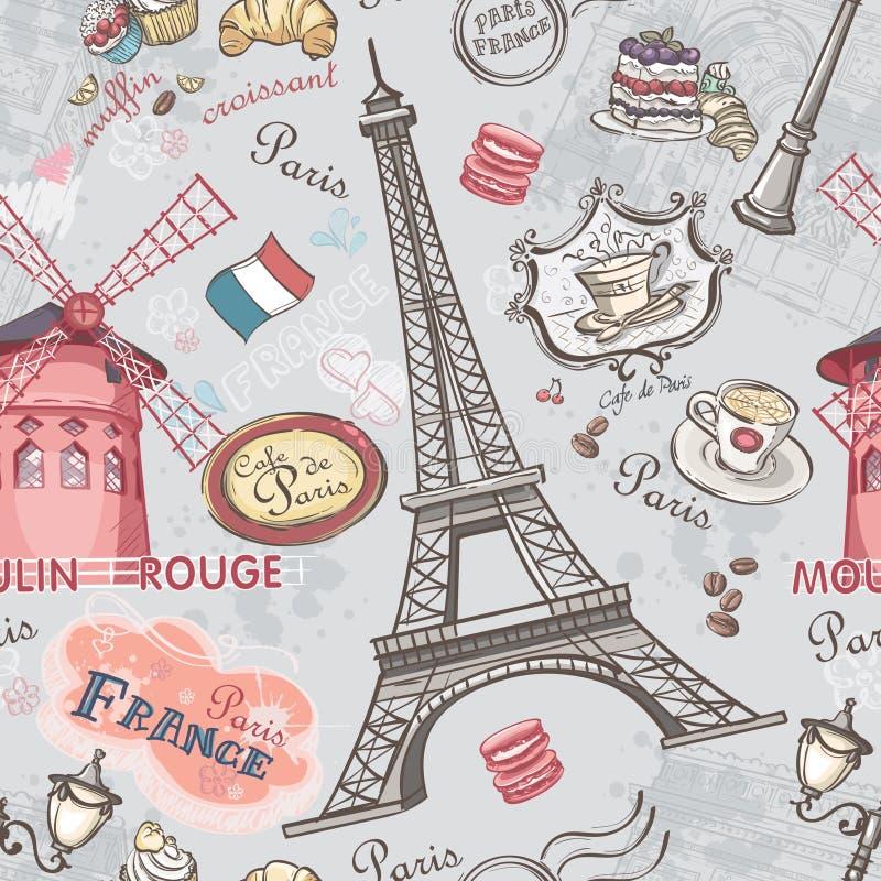 Texture sans couture avec l'image des vues de Paris illustration stock