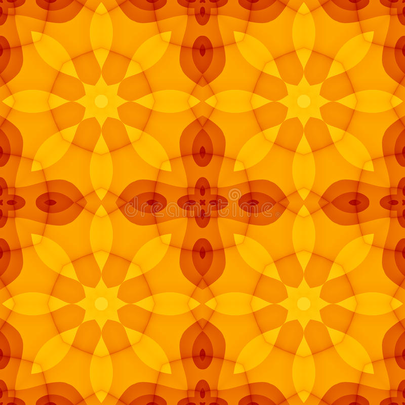 Texture sans couture avec le modèle floral de rouge orange de kaléidoscope chaud de jaune illustration libre de droits