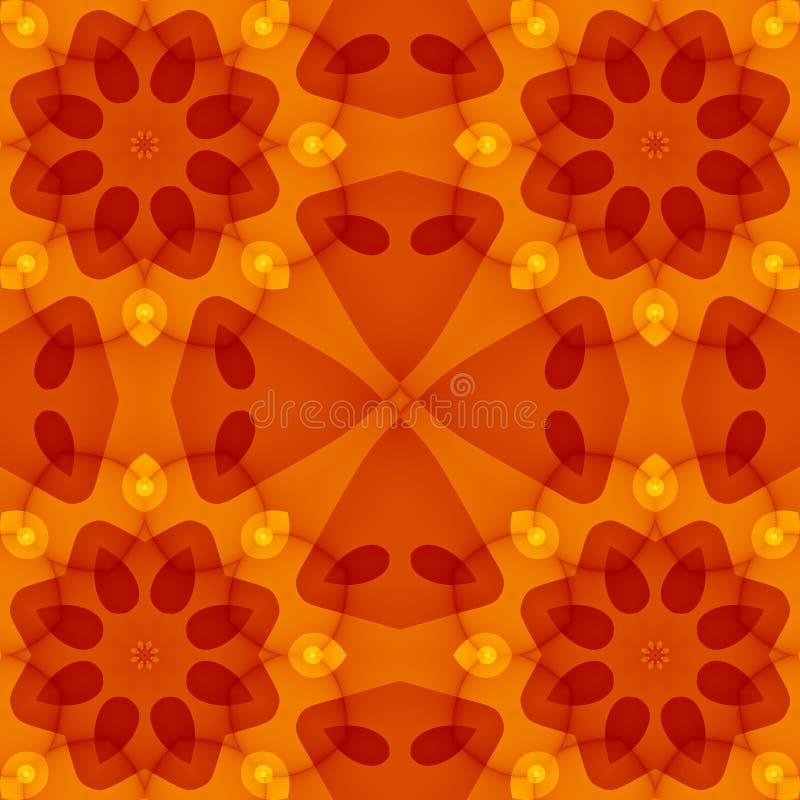 Texture sans couture avec le modèle floral rouge chaud de coupe de jaune orange illustration stock