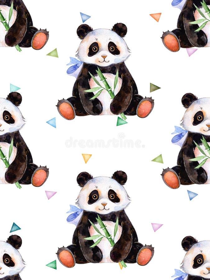 Texture sans couture avec les éléments peints à la main d'aquarelle, les triangles multicolores et le panda mignon illustration stock