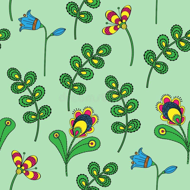 Texture sans couture avec les fleurs décoratives peintes sur un fond vert clair illustration de vecteur