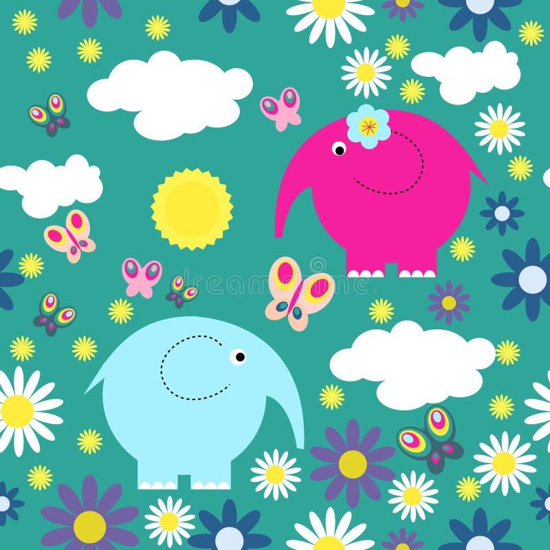 Texture sans couture avec les fleurs et les papillons mignons d'éléphants illustration stock