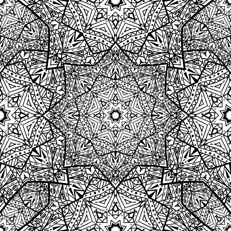 Texture sans couture avec les mandalas noirs et blancs illustration stock