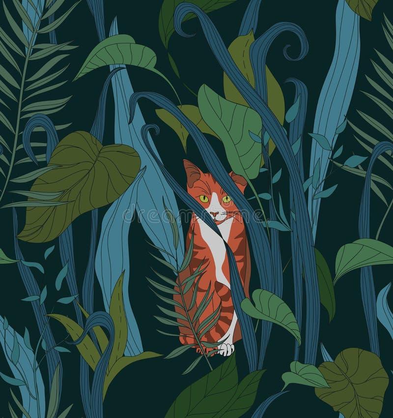Texture sans couture avec un chat rouge illustration de vecteur